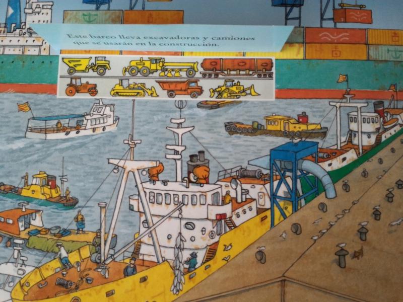 ¡Camiones de obra dentro de un barco!