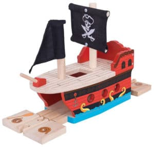 Túnel galeón pirata para trenes de madera
