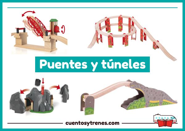 Puentes y túneles para trenes de madera