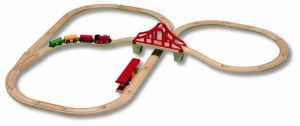 Circuito de tren de madera de Micki Leksaker