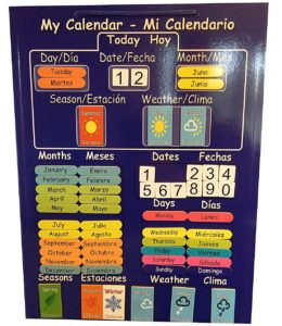 Calendario infantil magnético bilingüe