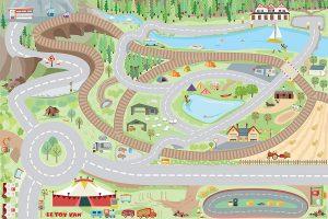 Alfombra para niños con carreteras y vías