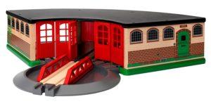 Cochera para trenes de madera de Brio