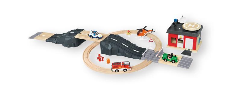 Set de vías y carreteras de madera de Lidl