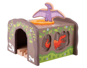 Túnel de dinosaurios para vías de madera